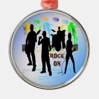 Roca encendido - oscile el ornamento de la banda adorno navideño redondo de metal