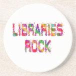 Roca enérgica de las bibliotecas posavasos cerveza