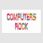 Roca enérgica de los ordenadores rectangular pegatina