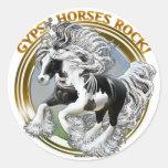 Roca gitana de los caballos pegatina redonda