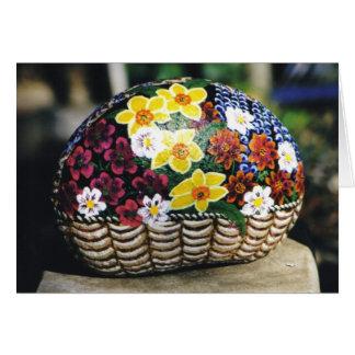 roca grande de la cesta floral tarjeta pequeña