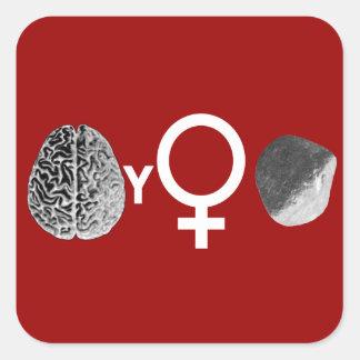 ¡Roca inteligente de los chicas! Pegatina Cuadrada