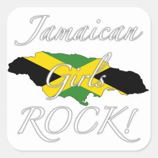 ¡Roca jamaicana de los chicas! Pegatina Cuadrada