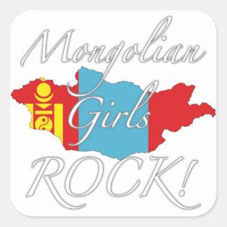 ¡Roca mongol de los chicas! Pegatina Cuadrada