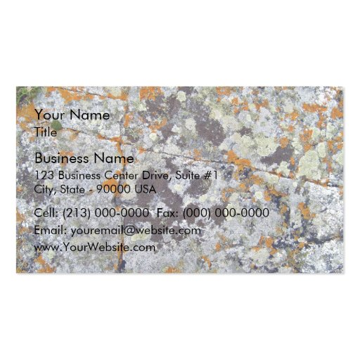 Roca negra con los liquenes anaranjados y blancos tarjetas de visita