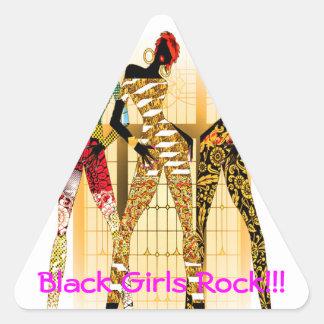 Roca negra de los chicas pegatina triangular