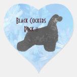 ¡Roca negra de los cocker!! Pegatina Corazon