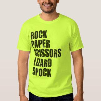 Roca, papel, tijeras, lagarto, Spock y reglas Playera