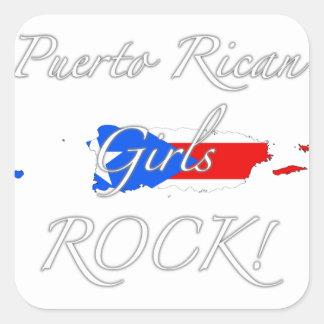 ¡Roca puertorriqueña de los chicas! Calcomania Cuadradas Personalizadas
