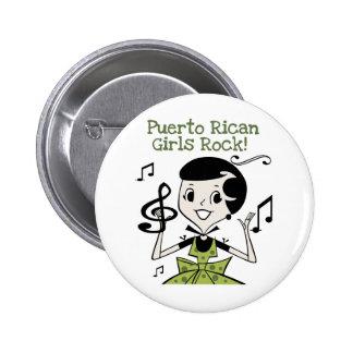 Roca puertorriqueña de los chicas pin redondo de 2 pulgadas