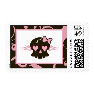 Roca punky del cráneo del rosa femenino del chica sellos postales