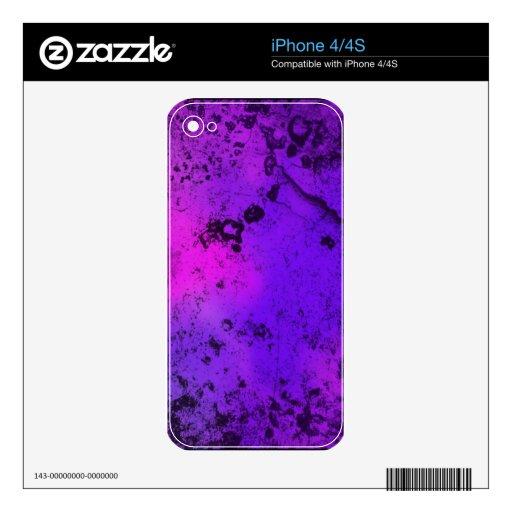 Roca púrpura del Grunge y de las rosas fuertes Calcomanía Para El iPhone 4S