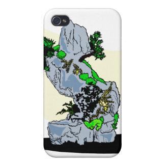 Roca que planta imagen del gráfico de los bonsais iPhone 4 carcasa