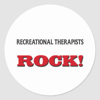 Roca recreativa de los terapeutas pegatinas redondas