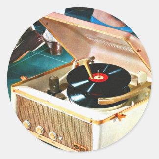 Roca retra del kitsch del vintage y placa pegatina redonda