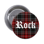 Roca roja de la tela escocesa - botón pin