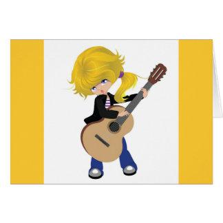 roca rubia linda de la guitarra del chica vectorst tarjeta de felicitación
