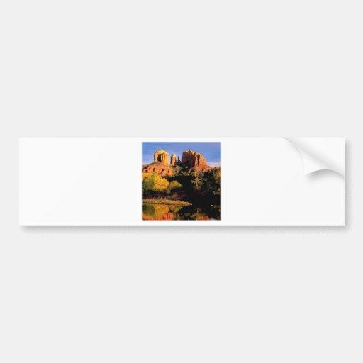 Roca Sedona de la catedral del barranco Etiqueta De Parachoque