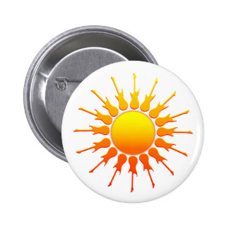 Roca solar, Sun con los rayos de la guitarra con e Pin Redondo De 2 Pulgadas