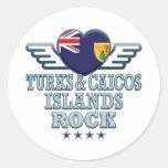 Roca v2 de Turks and Caicos Islands Pegatina Redonda