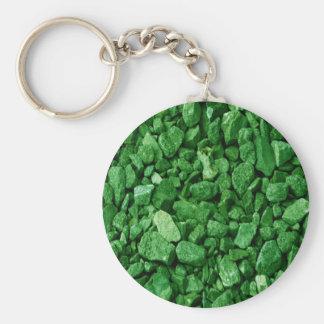 Roca verde del granito llavero redondo tipo pin