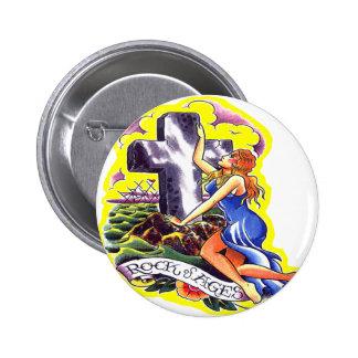 Roca vieja del tatuaje de Skool de edades Pin Redondo 5 Cm