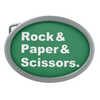 Roca y papel y hebilla del cinturón de las tijeras hebillas cinturon ovales