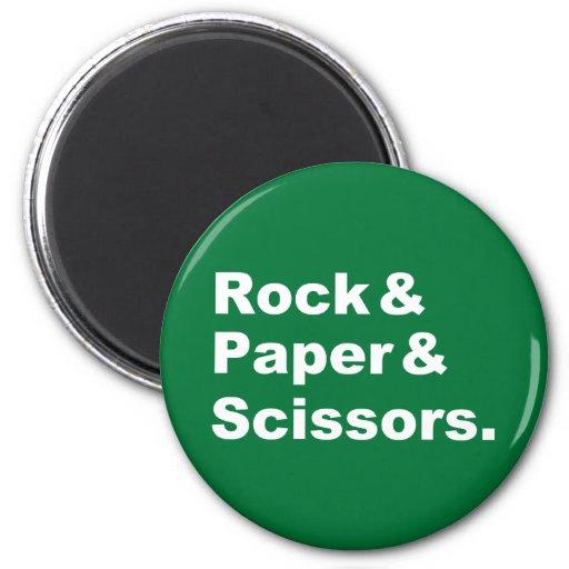 Roca y papel y imán de las tijeras