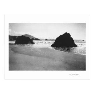 Rocas a lo largo de la playa en el puerto Orford, Postal
