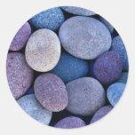 Rocas azules de piedra etiquetas redondas