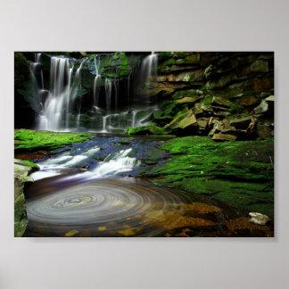 Rocas cubiertas de musgo de la piscina de las póster