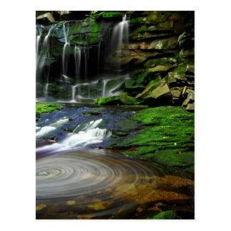 Rocas cubiertas de musgo de la piscina de las postal