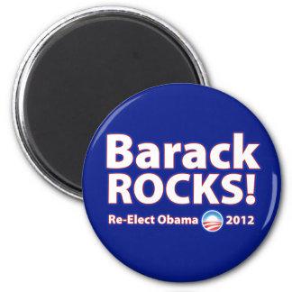 ¡ROCAS de Barack! Reelija a Obama 2012 Imán Redondo 5 Cm
