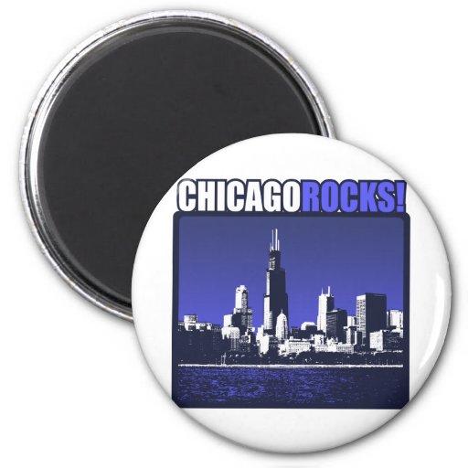 ¡Rocas de Chicago! Imán Redondo 5 Cm