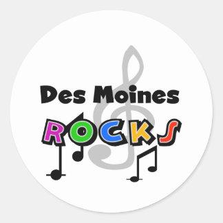 Rocas de Des Moines Pegatina Redonda