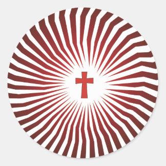 Rocas de dios - engranaje cristiano de la roca pegatina redonda