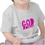 ¡Rocas de dios - engranaje cristiano de la roca! Camisetas