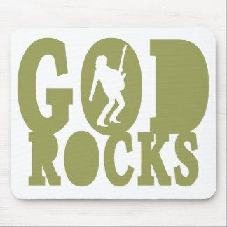 ¡Rocas de dios - engranaje cristiano de la roca! Tapete De Raton