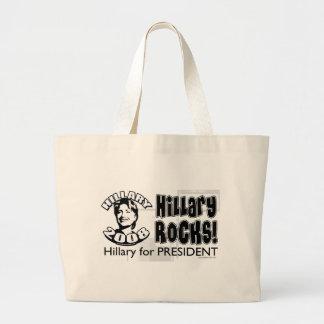 ¡Rocas de Hillary! Hillary para presidente Bag Bolsa Tela Grande
