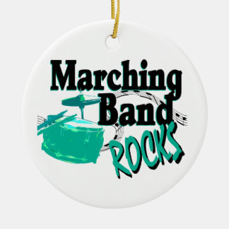 Rocas de la banda adorno navideño redondo de cerámica