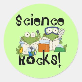 Rocas de la ciencia de las ranas pegatina redonda