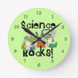 Rocas de la ciencia de las ranas reloj redondo mediano