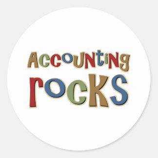 Rocas de la contabilidad pegatina redonda