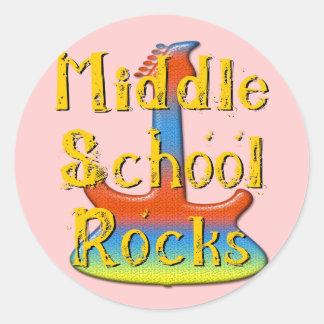 Rocas de la escuela secundaria - guitarra pegatina redonda