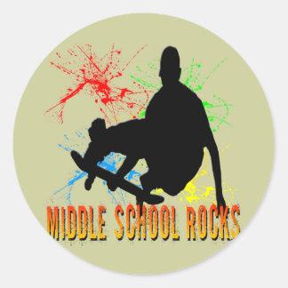 Rocas de la escuela secundaria - skater pegatina redonda
