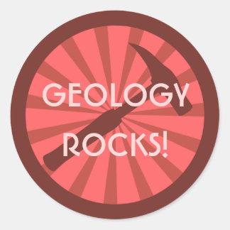 ¡Rocas de la geología! Insignia del martillo Pegatina Redonda