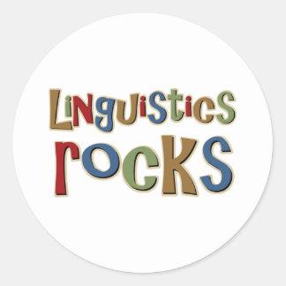 Rocas de la lingüística pegatina redonda