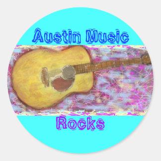 Rocas de la música de Austin Pegatina Redonda