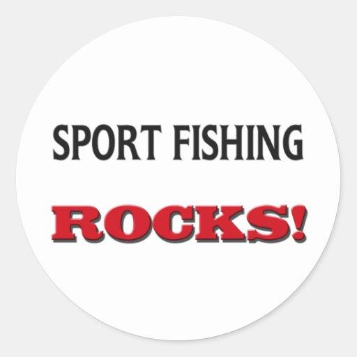 Rocas de la pesca deportiva pegatina redonda