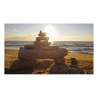 Rocas de la playa del lago Michigan apiladas Tarjeta De Visita